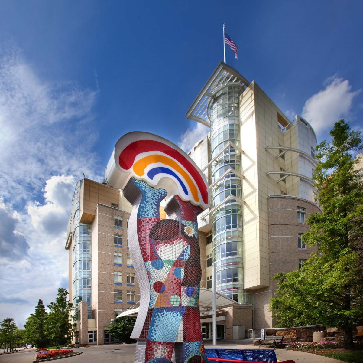 Outside the present-day University Hospitals Rainbow Babies & Children's Hospital