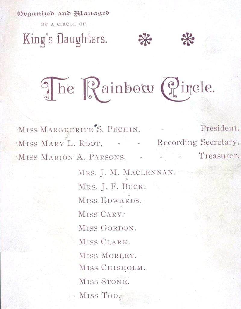 Program from a Rainbow Circle meeting circa 1887