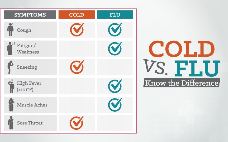 cold and flu symptom comparison